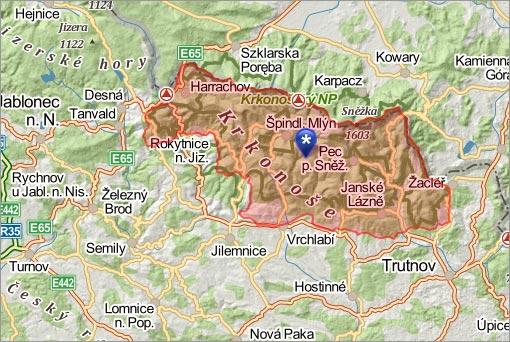 Mapa Krkonoš, foto: mapy.cz