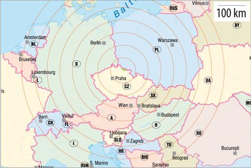 Krkonoše na mapě - střední Evropa, foto: Archiv Vydavatelství MCU s.r.o.